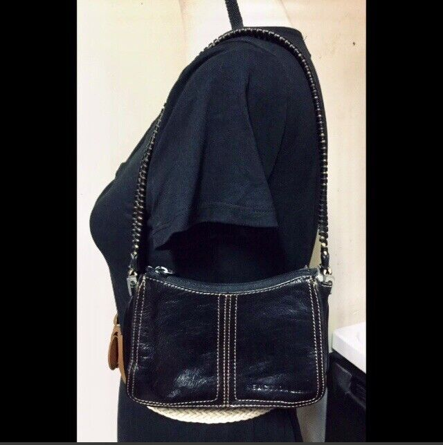 Petite Square Black Leather Purse, Tan Stitching - image 1