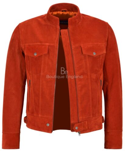 New Mens TRUCKER Leather Jacket Suede Leather Classic SOFT Biker Style 1345