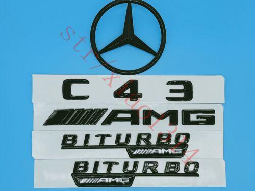 Gloss-Black-C43-AMG-B+AMG Trunk-Logo-Sticker-Decal-Emblem-Badge-Package-for-W205