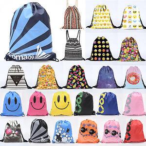 Waterproof Drawstring Backpack Emoji Sport Yoga Swimming Football Mens Girls Bag