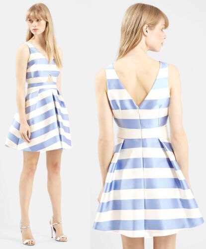 TOPSHOP Striped Prom Dress in Blue Sizes 6 to 14