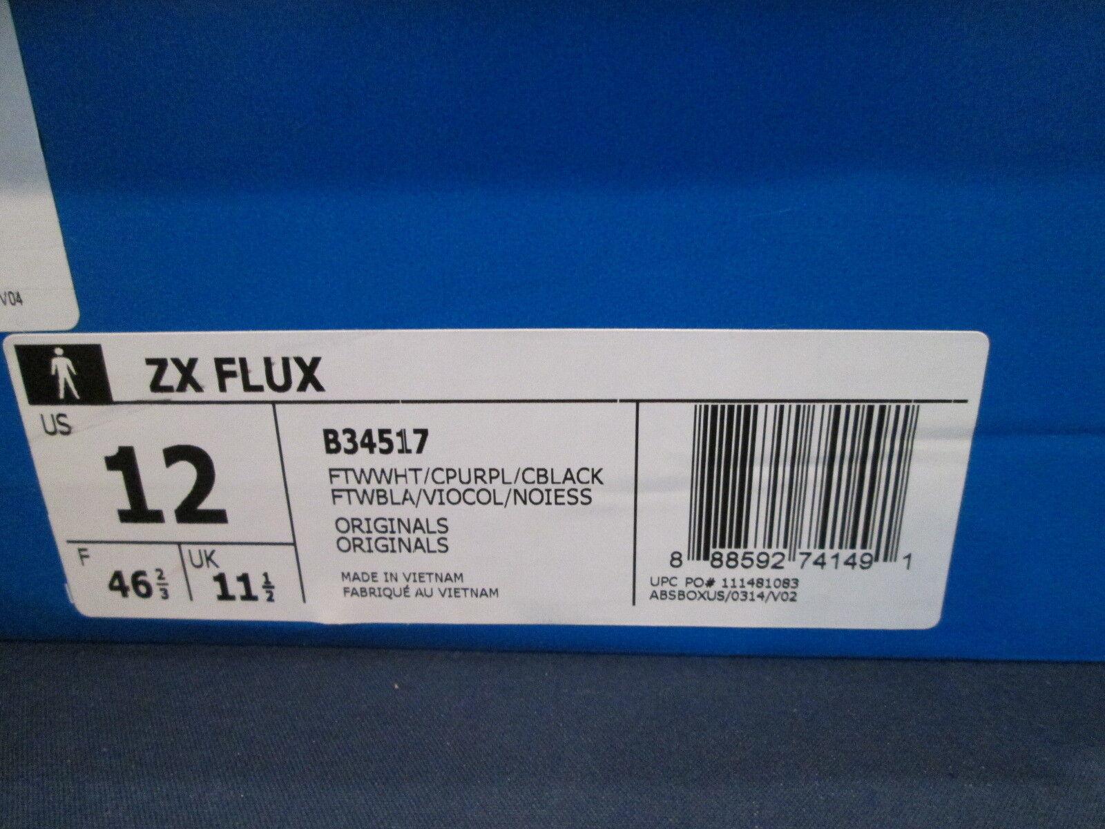 Neue adidas originals zx flux weiße / lila lila lila / schwarze größe 12 91fba2