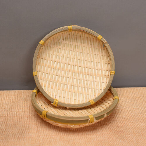 Woven Bamboo Basket Cake Bread Nuts Plate Vegetable Fruit Storage Container