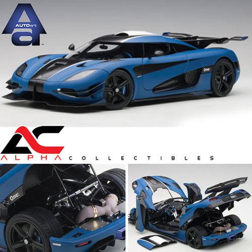 Autoart 79018 1 18 Koenigsegg uno 1 (Mate nero Carbón blu Imperial)