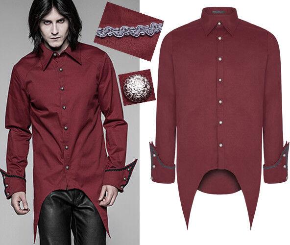 Hemd Shirt Gothic Barock Militär Vampir Spitz Stickerei Mode PunkRave Herren Rot
