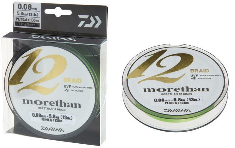 DAIWA Morethan 12 Braid 0,14mm 12,2kg 135m Lime verde Intrecciato Corda