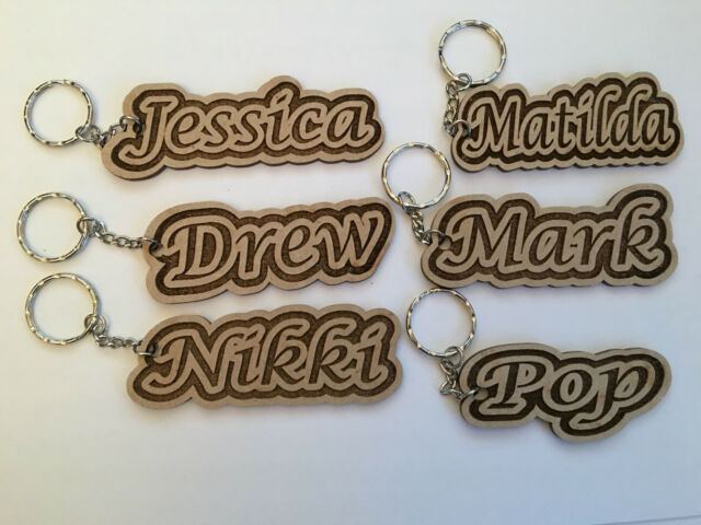 Personalised Wooden Keyring Engraved Keychain Wedding Favours Christmas Gift