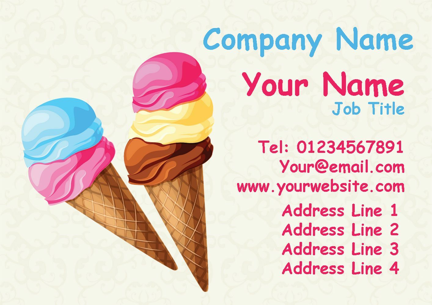 Bubble-Gum Ice Cream Personalised Business Cards