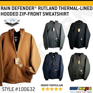 Carhartt-Men-039-s-Rain-Defender-Rutland-Thermal-Lined-Hooded-Zip-Front-Sweatshirt