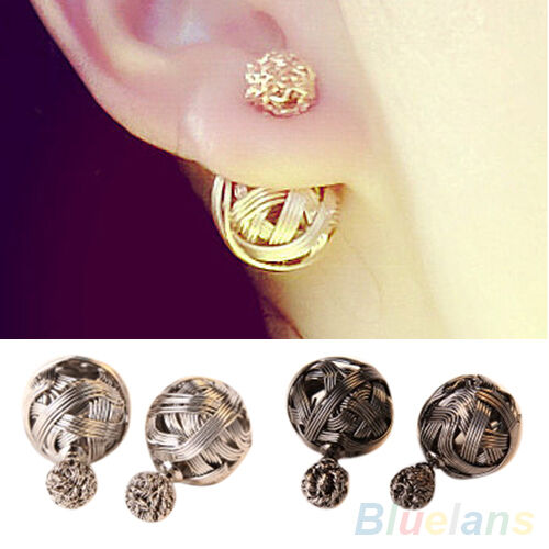 Latest Womens Exotic Double Sides Two Hollowed Gold Plated Ball Studs Earrings