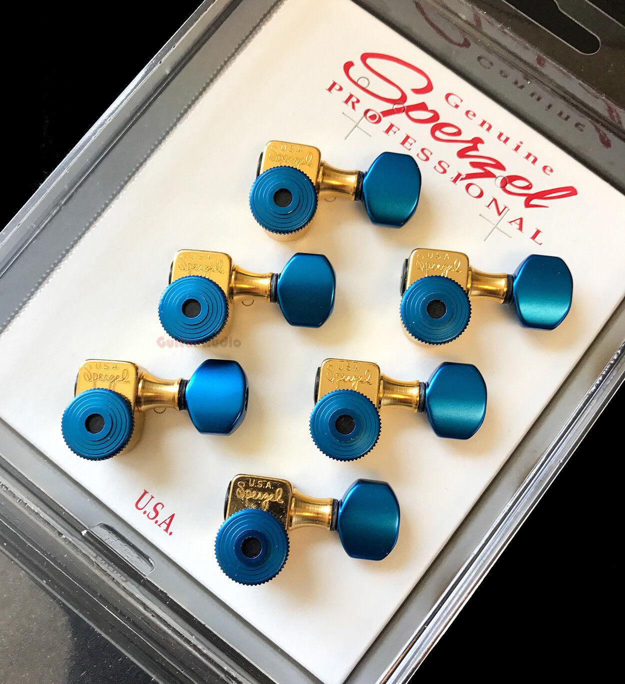 Sperzel 6-In-Line Tri ok Locking Tuners Staggerot Tuning Pegs - Gold & Blau