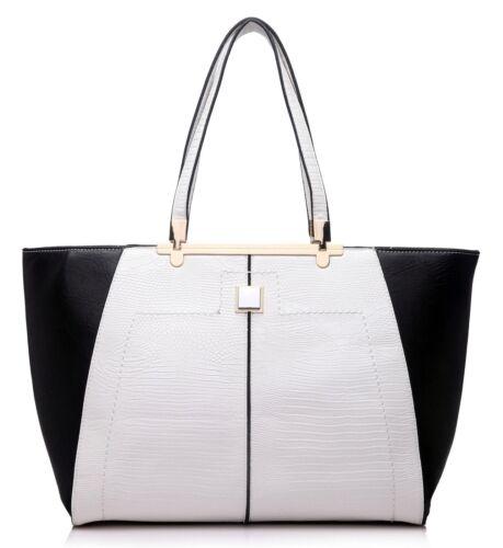 Multi Colours Bag Womens Large Two Tone Tote Top Handle Shoulder Handbag
