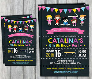 Image Is Loading GYMNASTICS Personalised Invitations Girls Birthday Gym Party Pink