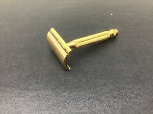 Vintage-Gillette-Gold-Tone-Tech-Safety-Razor-Ball-End-Marked-Pat-OFF-50-039-s
