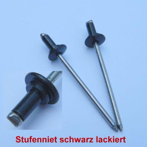 12 Stück Stufenblindniet 4x7 schwarz Clip Zierleisten Befestiger Klammer Halter