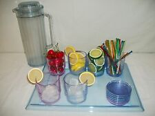 Tupperware 15pc Watercolor acrylic Deluxe Tumblers Tray Beverage Set ~2L Pitcher