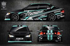 Car Side And Hood Decal Custom Full Body Color Sticker American Racing
