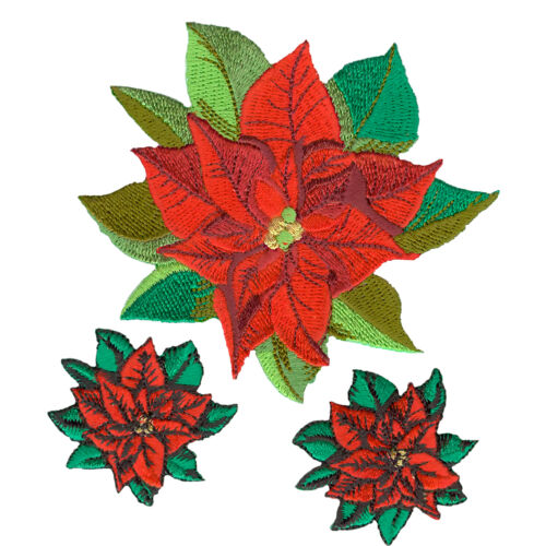 VEGASBEE RED FLOWER POINSETTIA EMBROIDERED IRONON APPLIQUÉ 3 PATCHES SET