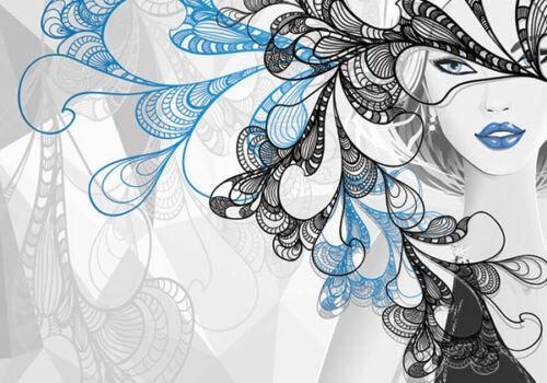 Silver Girl Fashion Fantasy Mask 3D Full Wall Mural Photo Wallpaper Home Dec Kid