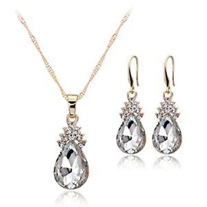 Halskette-Ohrringe-Diamant-Wassertropfen-Elegante-Damen-Schmuck-Set-Kristall-OE