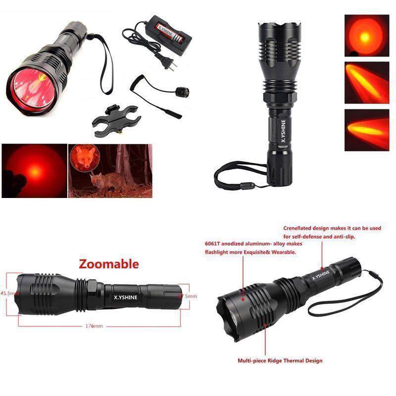 Red Led Hunting Light Kit 500+ yards Coyote Varmint Hog Night Hunt 350 LUMEN