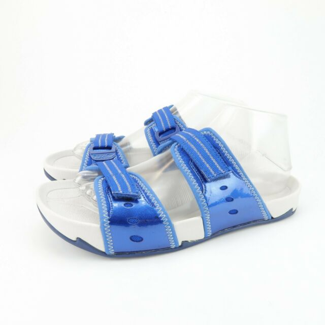 Earth Kalso Negative Heel Exer-Slide Blue Leather Sandals Womens Size 7 B