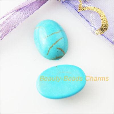 10Pcs Blue Turquoise Oval Ellipse Loose Cabochon Gemstone FlatBack 8x10mm