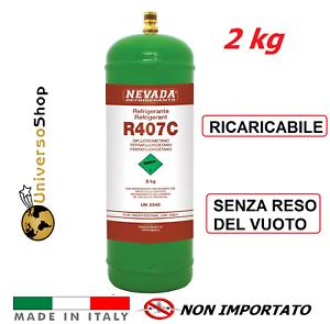 GAS R407C REFRIGERANTE RICARICA PER CLIMATIZZATORI CONDIZIONATORI BOMBOLA DA 2KG