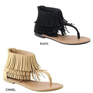 5dbd13634b85d6 New Womens Thong T-Strap Open Toe Layered Fringe Cuff Gladiator Flat ...
