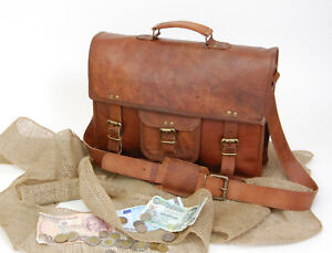 Men-039-s-Real-Leather-Vintage-Brown-Sling-Messenger-Shoulder-Laptop-Bag-Briefcase
