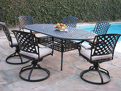 Outdoor Cast Aluminum Patio Furniture 7 Piece Dining Set With 6