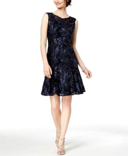 Adrianna Papell Womens Navy Lace Sequined Party Trumpet Dress 10 Bhfo 5781