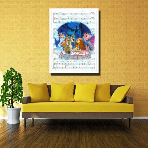 """Art Quality Canvas Print Anime Lady and The Tramp Bella Home Decor 16/""""x20/"""""""