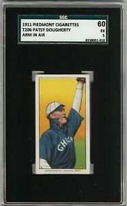 1909-11 T206 Patsy Dougherty Arm In Air Piedmont 350-460 Chicago SGC 60 / 5 EX