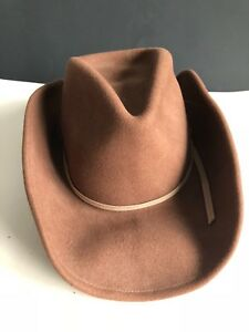 2f8996b3 Details about Henschel U Shape It Wool Felt Outback Hat Band Feather Size  Medium Light Brown