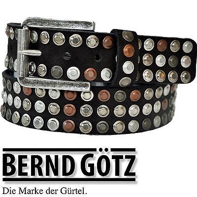 BERND GÖTZ Nietengürtel / 4 cm breit / Jeansgürtel / Veloursleder / Belt 402098