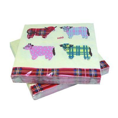 NEW TRIPLE PLY QUALITY PAPER PACK OF 20 SCOTTISH SCOTTIE DOGS NAPKINS TARTAN