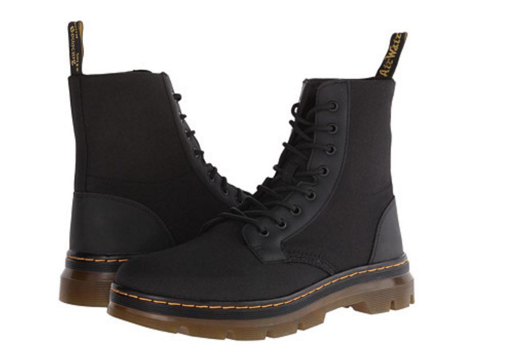 Dr. Martens Combs Fold Down Men Women Boot Black Nylon 16607001 L