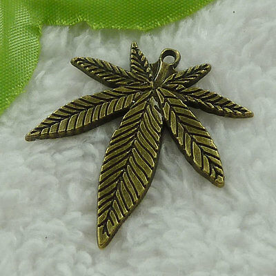free ship 40 pieces bronze plated maple leaf charms 38x34mm #3324