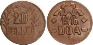 Deutsch-Ostafrika Doa 20 Heller 1916 J. 726C Bronce 43Ms / M EBC (44388)
