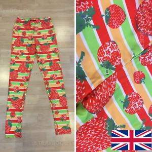 Rainbow Strawberry Classic Leggings 8-12 UK stripe fruit stretchy yoga festival