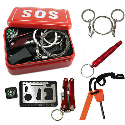 SOS Help Outdoor Sport Camping Hiking Multi Survival Emergency Gear Tool Box Kit