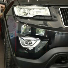 2x Side Front Fog Light Lamp Trim Cover Strip for Jeep Grand Cherokee 2014-2016