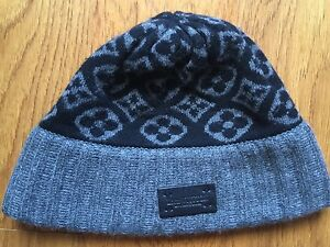 8de9175a9251 Louis Vuitton knit hat knit cap Monogram Black Bonnet ski M71951 LV ...