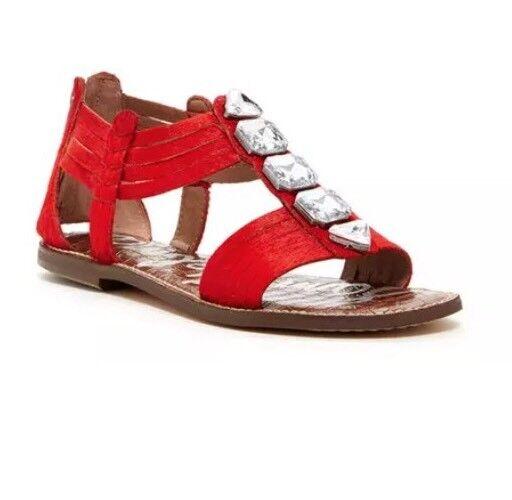 Sam Edelman Galina Genuine Calf Hair Embellished Sandal Red Women Sz 8 M 2028