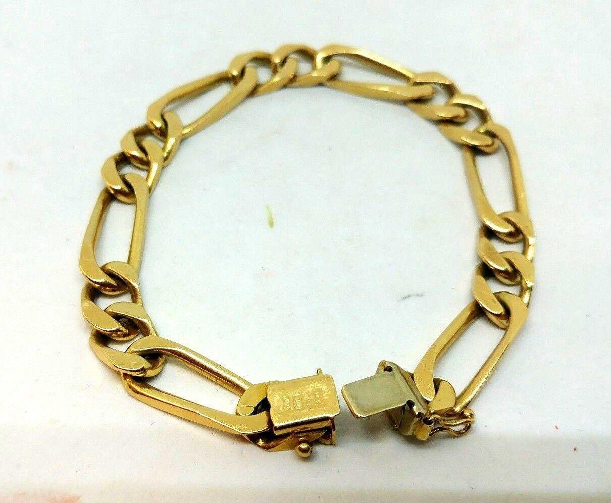 14K YELLOW gold FIGARO LINK BRACELET  7.75   LONG 8.67mm Wide 28.32 grams
