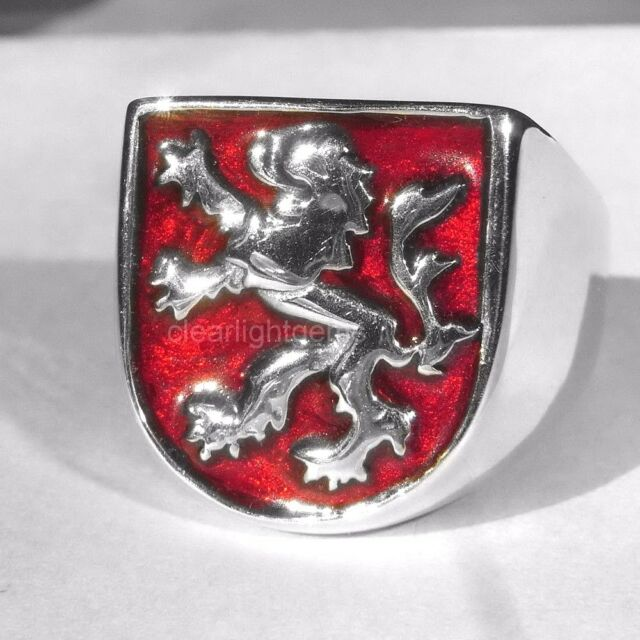 German Red Lion Rampart Coat of Arms Sterling Silver Ring