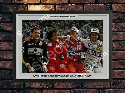 Ayrton Senna Alain Prost Nigel Mansel Nelson Piquet Signed Autographed A4 Poster