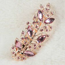 Pink Women Ladies Crystal Rhinestone Flower Barrette Hair Clip Clamp Hairpin