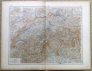 Original-1898-Map-of-Switzerland-by-Velhagen-amp-Klasing-Antique
